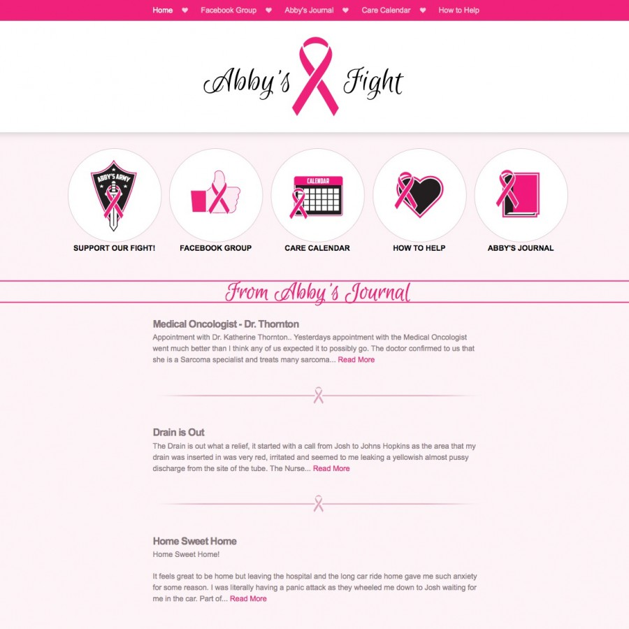 Home Page design of abbysfight.com