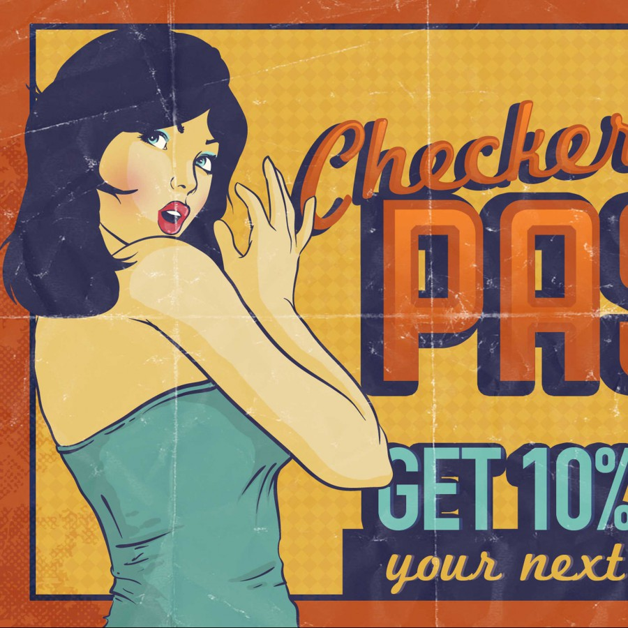Design of Checkered Past Postcard