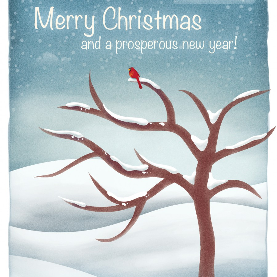 Christmas Card with Red Cardinal on Tree