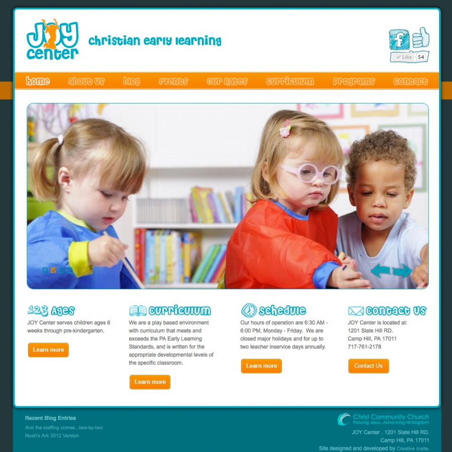 Home Page design of joycenterpreschool.com