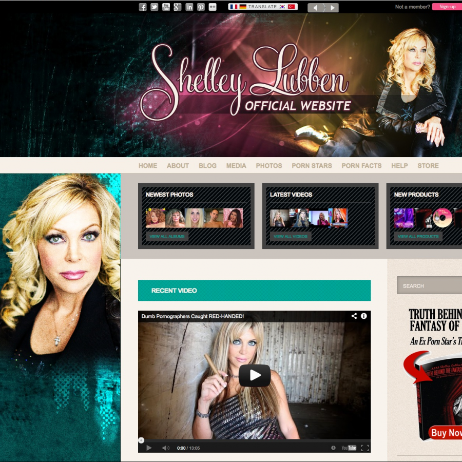 Home page design of shelleylubben.com